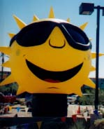 Giant Florida sun shape advertising balloon.